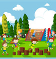 kids having fun in park vector image vector image