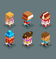 lowpoly children winter clothes isometric boys vector image vector image