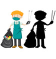 male cleaner holding tongs and garbage bag vector image