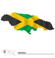 Map of Jamaica with flag vector image vector image