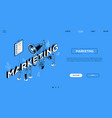 marketing landing page isometric template vector image