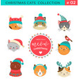 merry christmas cats collection vector image vector image