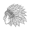 native american indian chief head profile vintage vector image vector image