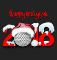 new year numbers 2018 and golf ball vector image