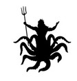 octopus man silhouette mythology fantasy vector image vector image