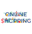 online shopping word cartoon vector image vector image