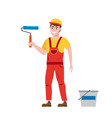 painter man is holding a paint roller in hand vector image