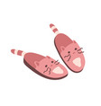 pair cute pink cat slippers isolated on white vector image vector image