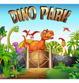 Park full of dinosaurs vector image vector image