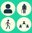 people icons set collection of grandpa network vector image vector image