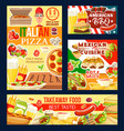 pizza and barbecue fast food and mexican cuisine vector image vector image