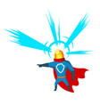 pointing superhero with head light character vector image vector image