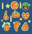 pumpkin stickers set vector image vector image