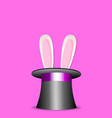 rabbit ears appear from magic top hat isolated o vector image