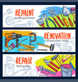 repair work banner with construction tool sketch vector image vector image
