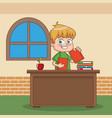 schoolboy at classroom vector image