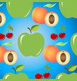 seamless background with juicy fruits apples vector image