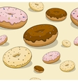 Seamless donut background vector image