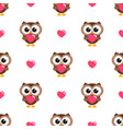 seamless pattern with brown owls and hearts vector image vector image