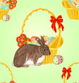 Seamless texture easter rabbit and easter wicker vector image vector image