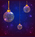 set of 3 sparkled christmas balls vector image vector image