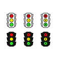 set of traffic light in line and flat design on vector image vector image