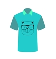 T-shirt with the image of cartoon cat vector image vector image