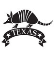 texas design with armadillo animal and banner vector image vector image