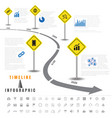 timeline infographics traffic signs with elements vector image vector image