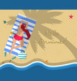 top view of young woman in red bikini on beach vector image vector image