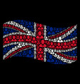 waving uk flag pattern of manager items vector image