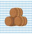 wooden barrels with beer vector image vector image