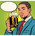 Elegant black man with a beer vector image