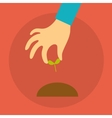 hand of a person holding seedlings vector image