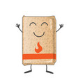 bag wood pellets mascot cartoon isolated vector image vector image