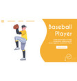 banner template baseball player pitcher vector image vector image