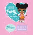 birthday invitation with cute lol dolls element vector image vector image