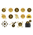 bitcoin icon set vector image vector image