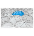 blue umbrella in the grey umbrellas - pattern vector image