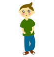 boy in green shirt on white background vector image vector image