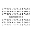 Calligraphic zodiac sign set vector image