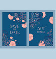 card and cover set with hand drawn flowers vector image vector image