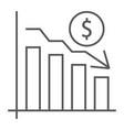 chart thin line icon finance banking decrease vector image vector image
