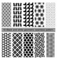 collection of black and white geometric seamless vector image vector image