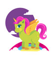 colorful green pony horse with gold horn vector image