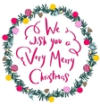 Colorful poster with decorative christmas wreath vector image vector image