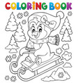 coloring book sledging penguin theme 2 vector image vector image