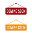 coming soon signage template design eps 10 vector image