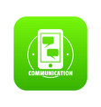 communication phone icon green vector image vector image
