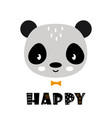 cute cartoon panda face on white background vector image